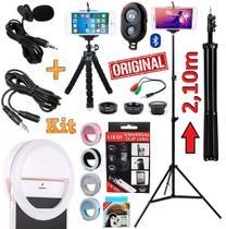 Kit Youtuber Profissional Microfone De Lapela + Tripé 2,10m Celular Câmera + Kit Lentes Olho de Peixe Luz Flash Extensão - Leffa Shop
