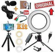 Kit Youtuber Profissional Microfone de Lapela + Tripé Flexível Câmera Celular Smartphone + Iluminador Luz Led Ring Light - Leffa Shop