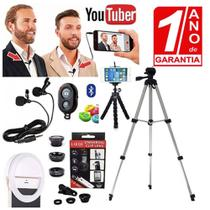 Kit Youtuber Profissional Microfone Duplo Lapela Para Celular + Tripé 1,30m + Luz Flash Ring Light - Redshock