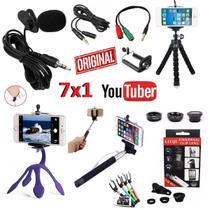 Kit Youtuber Profissional Microfone Lapela + Extensão 3m + 2 Mini Tripé Flexível Bastão Selfie Lentes Celular Universal - Leffa Shop