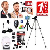 Kit Youtuber Profissional Microfone Lapela Para Celular + Tripé 1,30m + Luz Flash Ring Light - Redshock