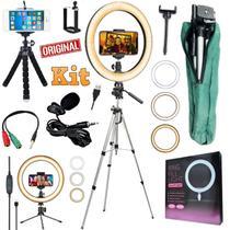 Kit Youtuber Profissional Microfone Lapela + Tripé 1,30m Câmera Celular + Luz Iluminador Anel Led Ring Light Foto Vídeoo - Leffa Shop