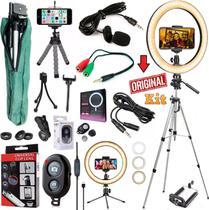 Kit Youtuber Profissional Microfone Lapela Tripé 1,30m Câmera Celular + Luz Iluminador Ring Light 26cm Lentes Foto Vídeo - Leffa Shop