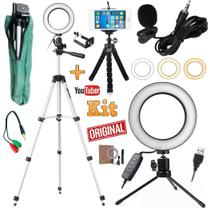 Kit Youtuber Profissional Microfone Lapela Tripé 1,30m Celular Universal Iphone Android + Luz Anel Ring Light Led Flash - Leffa Shop