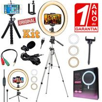 Kit Youtuber Profissional Microfone Lapela Tripé 1,30m Celular Universal Iphone Android + Ring Light - Redshock