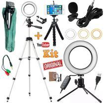 Kit Youtuber Profissional Microfone Lapela Tripé 1,30m Celular Universal + Luz Anel Ring Light Led Flash - Leffa Shop