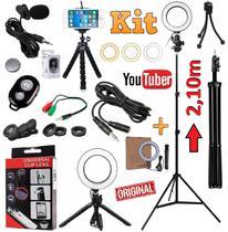 Kit Youtuber Profissional Microfone Lapela + Tripé 2,10m Câmera Celular Luz Led Iluminador Anel Ring Light + Kit Lentes - Leffa Shop
