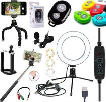 Kit Youtuber Profissional Microfone Lapela + Tripé Celular Smartphone + Iluminador Luz Anel Ring Light - Leffa Shop