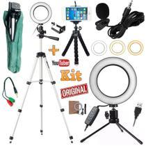 Kit Youtuber Profissional Microfone Lapela Tripé Luz Anel Ring Light Led Flash - Slu Tec