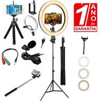Kit Youtuber Profissional Mini Tripé + Tripé com Ring Light + Lapela - Redshock
