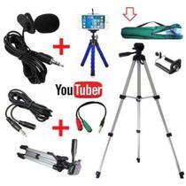 Kit Youtuber Profissional Tripé 1,20m + Microfone De Lapela Para Celular + Extensão 3m + Mini tripé - Negócio De Gênio