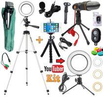 Kit Youtuber Profissional Tripé 1,30m Lapela + Microfone Mesa Pc Celular Universal + Luz Anel Ring Light Iluminador - Leffa Shop