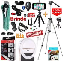 Kit Youtuber Profissional Tripé 1,30m + Microfone Lapela Celular Iphone Android Luz Led Mini Ring Light Lente Olho Peixe - Leffa Shop