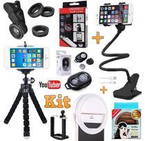 Kit Youtuber Profissional Tripé Celular Luz Anel Ring Light Flash Suporte Articulado Kit Lentes Bluetooth Universal - Leffa Shop