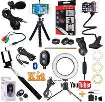 Kit Youtuber Profissional Tripé + Microfone Lapela Celular Universal + Luz Anel Ring Light 16cm + Lentes Olho Peixe - Leffa Shop