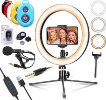 Kit Youtuber Ring Light Iluminador Led Flash Anel Luz 26cm + Tripé Microfone de Lapela Celular Profissional + Bluetooth - Leffa Shop