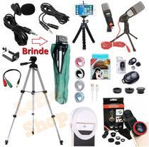 Kit Youtuber Tripé 1,30m Lapela + Microfone Condensador Mesa Profissional Celular Câmera Pc + Flash Extensão Kit Lentes - Leffa Shop