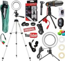 Kit Youtuber Tripé 1,30m Profissional + Lapela + Microfone Mesa Pc Celular + Luz Anel Ring Light + Lentes - Leffa Shop
