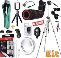 Kit Youtuber Tripé 1,30m Profissional Microfone Lapela Celular Iphone Android + Super Luneta Lentes Mini Luz Ring Light - Leffa Shop