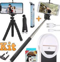 Kit Youtuber Tripé Celular Luz Iluminador Ring Light + Pau Selfie Bastão Monopod P2 Universal Iphone Android Foto Vídeo - Leffa Shop
