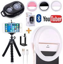 Kit Youtuber Tripé Celular Smartphone Iphone Android Universal + Luz Ring Light Led Flash Controle Bluetooth Vídeo Foto - Leffa Shop