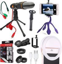 Kit Youtuber Tripé Flexível Suporte Celular + Microfone Condensador Mesa Profissional + Luz Led Anel Ring Light Original - Leffa Shop