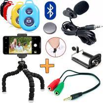 Kit Youtuber Tripé Para Celular Smartphone Universal Microfone de Lapela + Controle Bluetooth Foto Vídeo Iphone Android - Leffa Shop