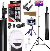 Kit Youtuber Tripé Profissional Pedestal Celular Luz Led Flash Ring Light Clip Iluminador Kit Lentes Olho Peixe Suporte - Leffa Shop