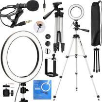 Kit Youtubers Ring Light Anel Led Pedestal Grande Para Gravação Vídeo Acessórios Celular Universal Vlog Fotos Makeup - Leffa Shop