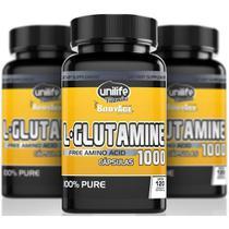 L-Glutamina Amino Ácido 120 Cápsulas de 1000mg Kit com 3 - Unilife