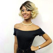 LACE WIG Margarida de Cabelo Humano Ondulado T4/613 (35 cm) - Bella Hair