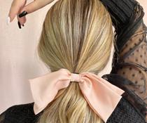 Laço duplo de crepe rosa para cabelo adulto - FOLL