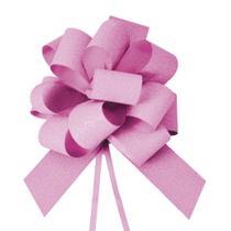 Laço Gravata Embalagem Presente Fita 18Mm Glitter Pink - Cromus