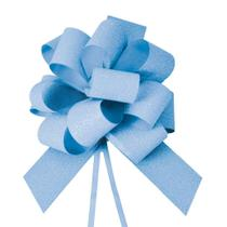 Laço Gravata Embalagem Presente Fita 30Mm Glitter Azul - Cromus