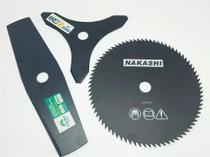 Lâmina 3 Pontas + 2 Pontas + Lamina 80 Dentes Para Roçadeira - Nakashi