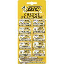 Lâmina de Barbear Chrome Platinum - 10 embalagens c/ 5 unidades - BIC -