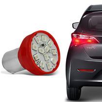 Lâmpada 12 LEDs 2 Polos Trava Reta 21W 12V Luz Lanterna e Freio Vermelho Autopoli -