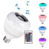 Lampada Bluetooth Led Rgb Branco Caixa Som Musical Com Controle - Import