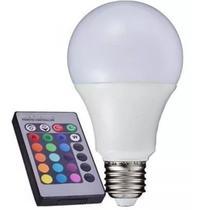 Lampada Bulbo Led Rgb 3w+controle Remoto E27 Bivolt -