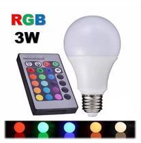 Lâmpada Bulbo Led Rgb 3w E27 Bivolt Colorida Controle Remoto - Lampada