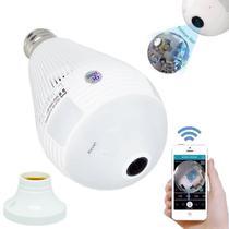 677053d03 Lâmpada Câmera Espiã 360 Panorâmica Wifi Ip Led Bivolt B13-L Microfone Alto  Falante Embutido Branca