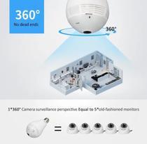 Lampada Câmera Espiã Ip Wifi Hd Panoramica 360 - vrcam