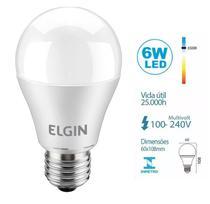 Lâmpada De Led Bulbo E27 6w 6500k Bivolt Inmetro Elgin -