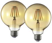 Lampada Decorativa Retrô Vintage LED G95 2 Unidades - Blue