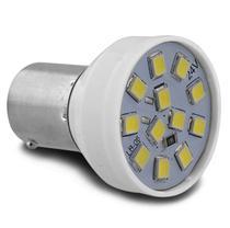 Lâmpada LED BA15s-21 1 Polo Trava Reta 12 LEDs 24V Luz Branca Ré Freio Seta e Lanterna Autopoli -