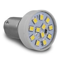 Lâmpada LED BAY15d 2 Polos Trava Reta 12 LEDs 12V Luz Branca Freio e Lanterna Autopoli -
