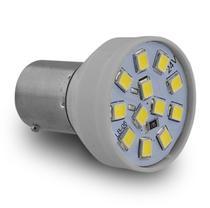 Lâmpada LED BAY15d 2 Polos Trava Reta 12 LEDs 24V Luz Branca Freio e Lanterna Autopoli -