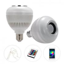 Lampada Led Colorida Com Controle Bluetooth Caixa De Som 12w -