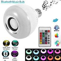 Lampada Led Com Caixa Som Bluetootoh Strobo Com Controle Remoto Com Efeito Musical Cromoterapia Mp3 - Makeda