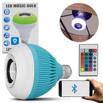 Lâmpada LED Musical Caixa de Som Azul Bluetooth 12W Android iOS Wireless Bivolt com Controle RGB - Prime